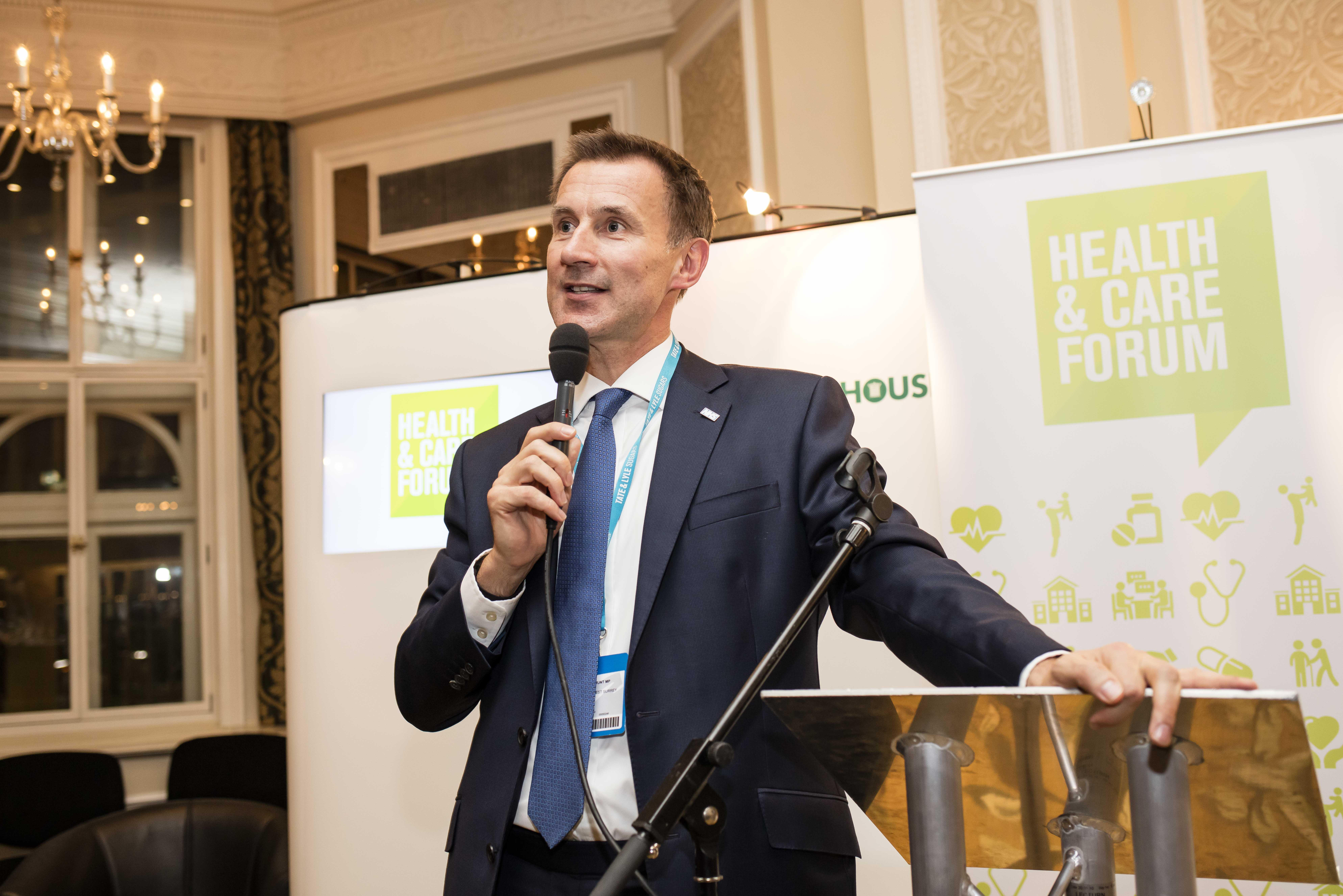 Rt Hon Jeremy Hunt MP speaking at the Health and Care Forum Reception