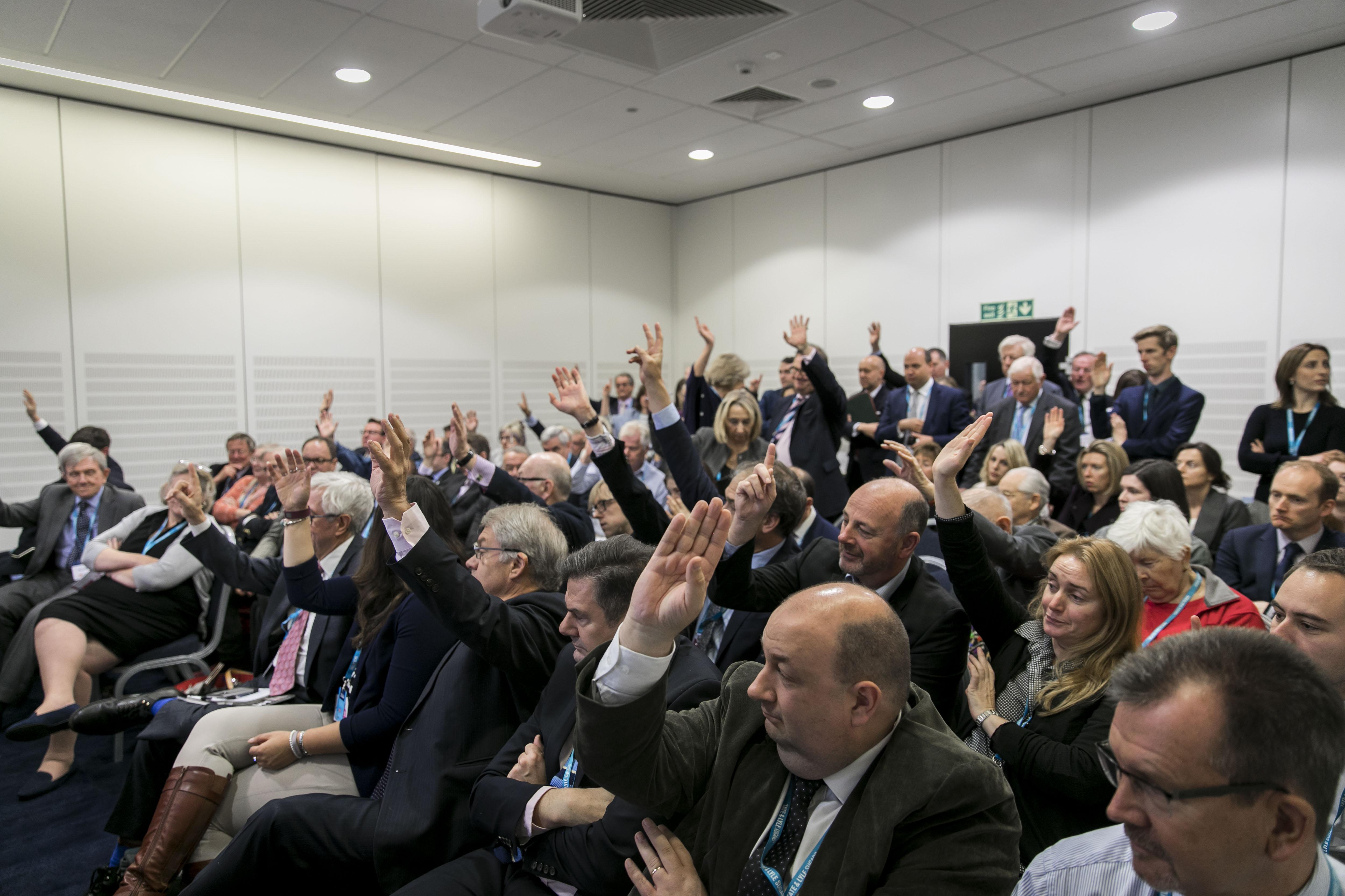 Audience voting at the Home Group fringe event